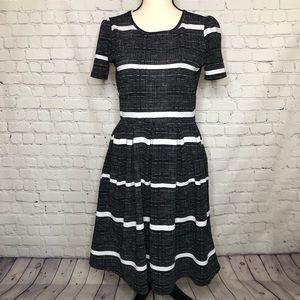 LuLaRoe Amelia black dress w/ white design